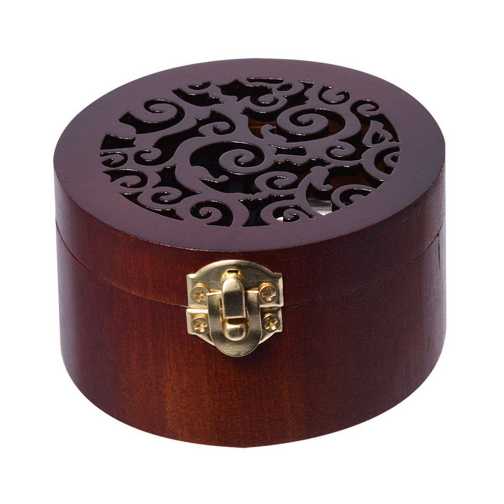 Cuzit Vintage Round Clockwork Wooden Musical Box Tune Swan Lake Christmas Music Box for Kids Girls Women Valentine's Day Gift