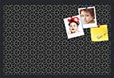 PinPix custom printed pin cork bulletin board made from canvas, Modeco Hex White Black 30x20 Inches (Completed Size) and framed in Satin Black (PinPix-Group-82)