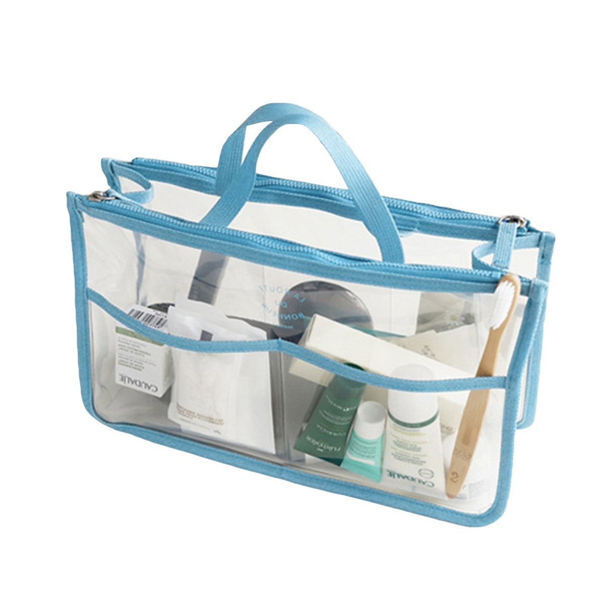 Deacroy Clear Handbag Purse Tote Insert Organizer 8 Pockets with Zipper and Handles, Skyblue