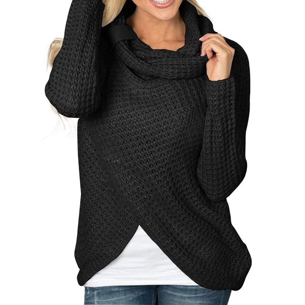 junkai Suéter de Cuello Alto de Las Mujeres suéter Irregular asimétrico de la Manera del Jersey Camisa con Botones de Manga Larga Blusas de la Rebeca y túnica de la Camiseta de Invierno Tops S-2XL