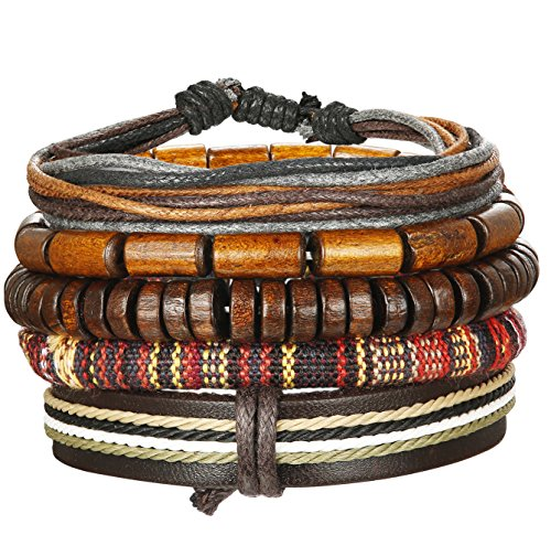 Bangle Wooden Bangles - Udalyn 5Pcs Leather Bracelet Set Wooden Beads Bracelets Hemp Cords Adjustable Bangle Wristband For Men Women