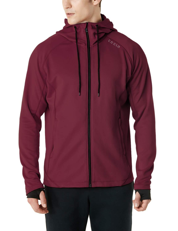 TSLA Men's Performance Active Training Full-Zip Hoodie Jacket, Active Fullzip(mkj03) - Maroon, Medium by TSLA