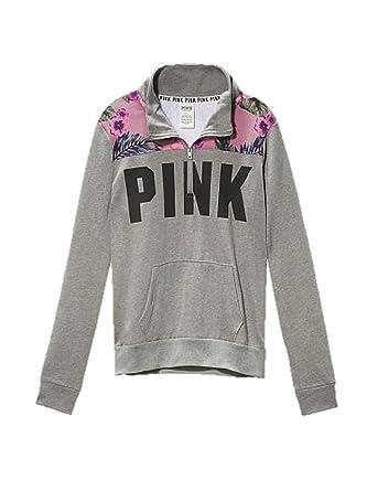 fe76bc568 Victoria's Secret PINK Hibiscus Print Boyfriend Half Zip Sweatshirt