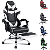 ALFORDSON Gaming Chair Racing Chair Executive Sport Office Chair with Footrest PU Leather Armrest Headrest Home Chair (Vogler White)