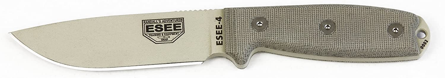 ESEE Knives 4P Fixed Blade Knife w Handle and Molded Polymer Sheath