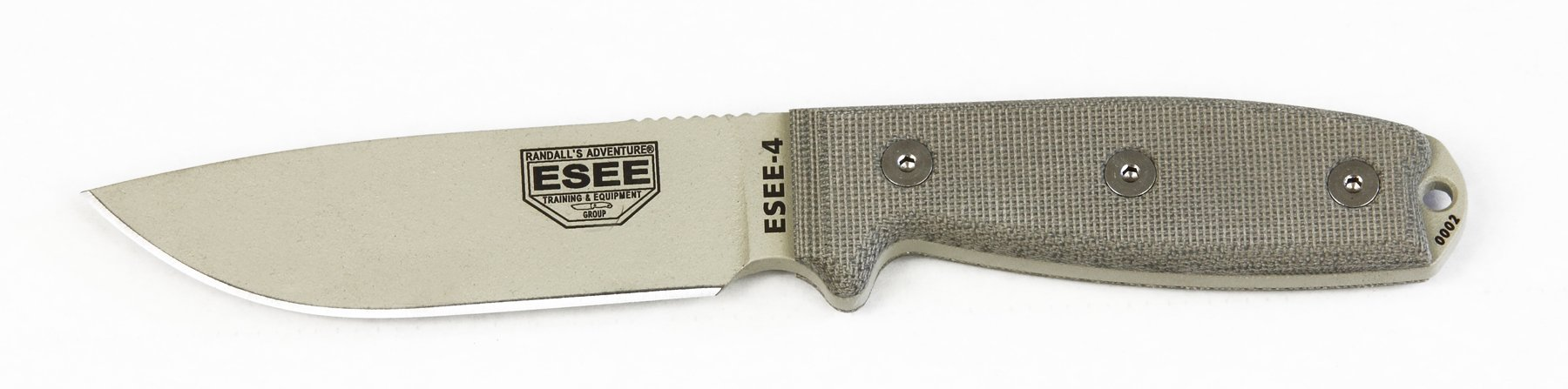 ESEE 4P-DT Desert Tan Fixed Blade Knife w/ OD Green Molded Polymer Sheath by ESEE