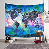 Wall Tapestry Psychedelic Bohemian Mandala Hippie Hanging Tapestries Blanket Watercolor World Map White Yellow Red for Living Room Bedroom Dorm Home Decor