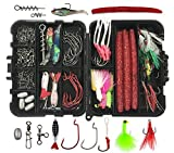 JSHANMEI Fishing Lure Kit Baits Tackle Including Crankbaits, Spinnerbaits, Plastic Worms, Jig Hooks, Topwater Lures, Spoons, Fishing Swivel Snap, Fishing Sinker Weights, Tackle Box and More Gears