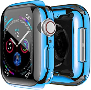 HANKN for Apple Watch Series SE 6 5 4 Screen Protector Case 40mm, Full Front Plated Soft TPU Shockproof Bumper Iwatch Cover (Blue 40mm)
