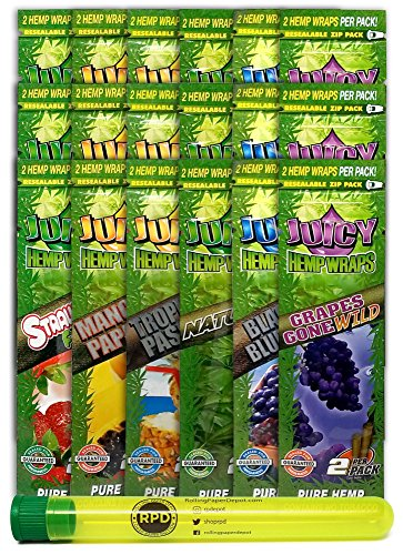 - Bundle - 19 Items - Juicy Flavored Hemp Wraps Sampler (6 Flavors, 3 Packs of Each) with Rolling Paper Depot Doobtube