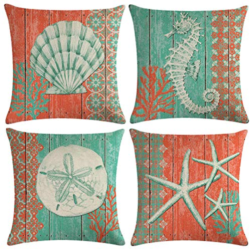 ULOVE LOVE YOURSELF 4Pack Ocean Theme Throw Pillow Covers Seahorse Seashell Starfish Nautical Sea Pillow Covers Square Cushion Pillowcase Decorative Pillow Shams 18