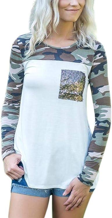 Sunnywill Camisetas Mujer Tallas Grandes Verano Originales Blusa Mujer Elegante Manga Largo Camuflaje Algodón Otoño Fiesta Camisas Largo T Shirt Women Tops Invierno Lentejuela: Amazon.es: Ropa y accesorios