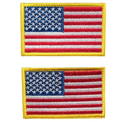 Bundle 2 Pieces - Full Color American US Flag Red White Blue with Gold Yellow Border Patch Decorative Embroidered - Anime Border