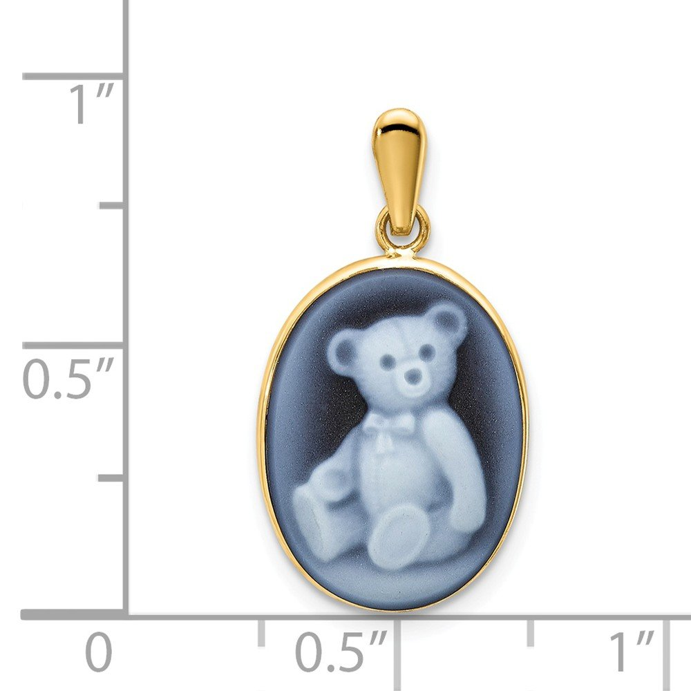 Mia Diamonds 14k Yellow Gold 12x16 Teddy Bear Agate Cameo Pendant