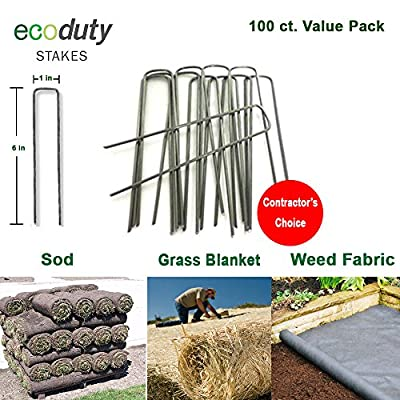 Ecoduty Contractor Grade Solid Steel 6 inch 11-Gauge Sod Staples for Landscape Fabric, Weed Barrier, Seed Blanket, drip line, Landscape Lighting Contractor's Choice (100 Pack)