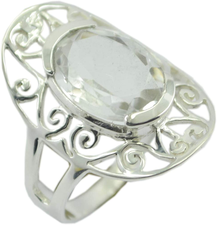 Solid 925 Sterling Silver Crystal Quartz Gemstone Handmade Daily Wear Gift Ring