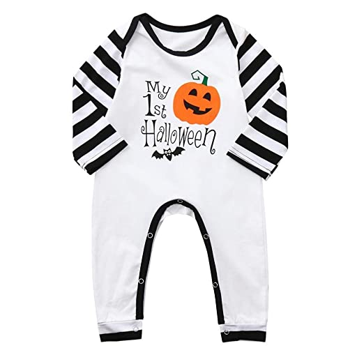 7b8007f6344 Amazon.com  Zlolia-baby clothes Halloween Toddler Kid Baby Boys Letter  Print Cartoon Romper Jumpsuit Clothes  Clothing