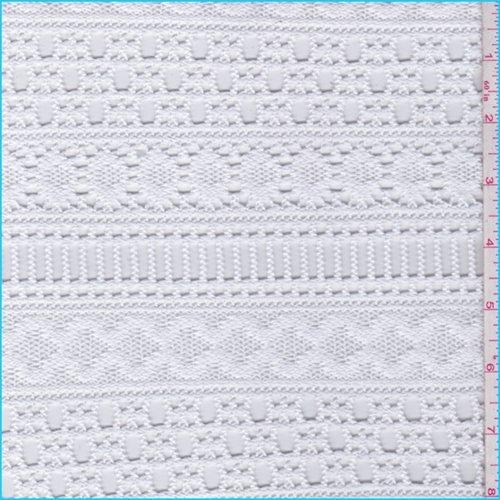 Bright White Decorative Stripe Crochet Lace, Fabric By the (Crochet Fabric)