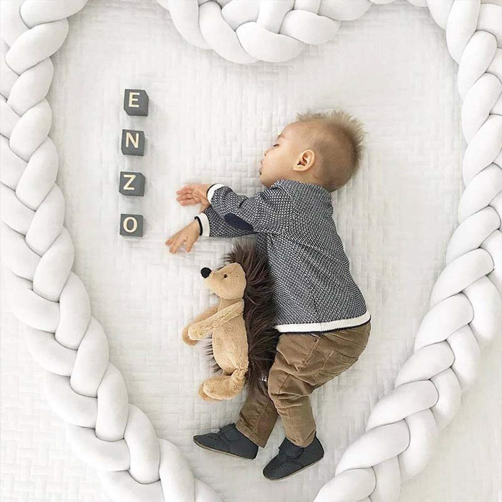 Baby Infant 2m//3m Crib Bumper Pads Knotted Braided Plush Nursery Bed Safety Rail Guard 3m Pure Color,Grey 3-Strand Cradle Protector Cot Sleep Bumper Pillow Knot Ball