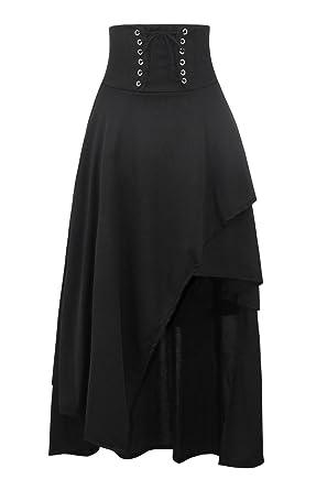 28d0c311c5 Killreal Women's Medieval Renaissance Asymmetrical Long Skirt Steampunk  Gothic Lolita Hi Low Skirt with Lace up