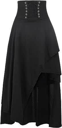 KILLREAL Women's High Waist Victorian Steampunk Gothic Hi Low Skirt
