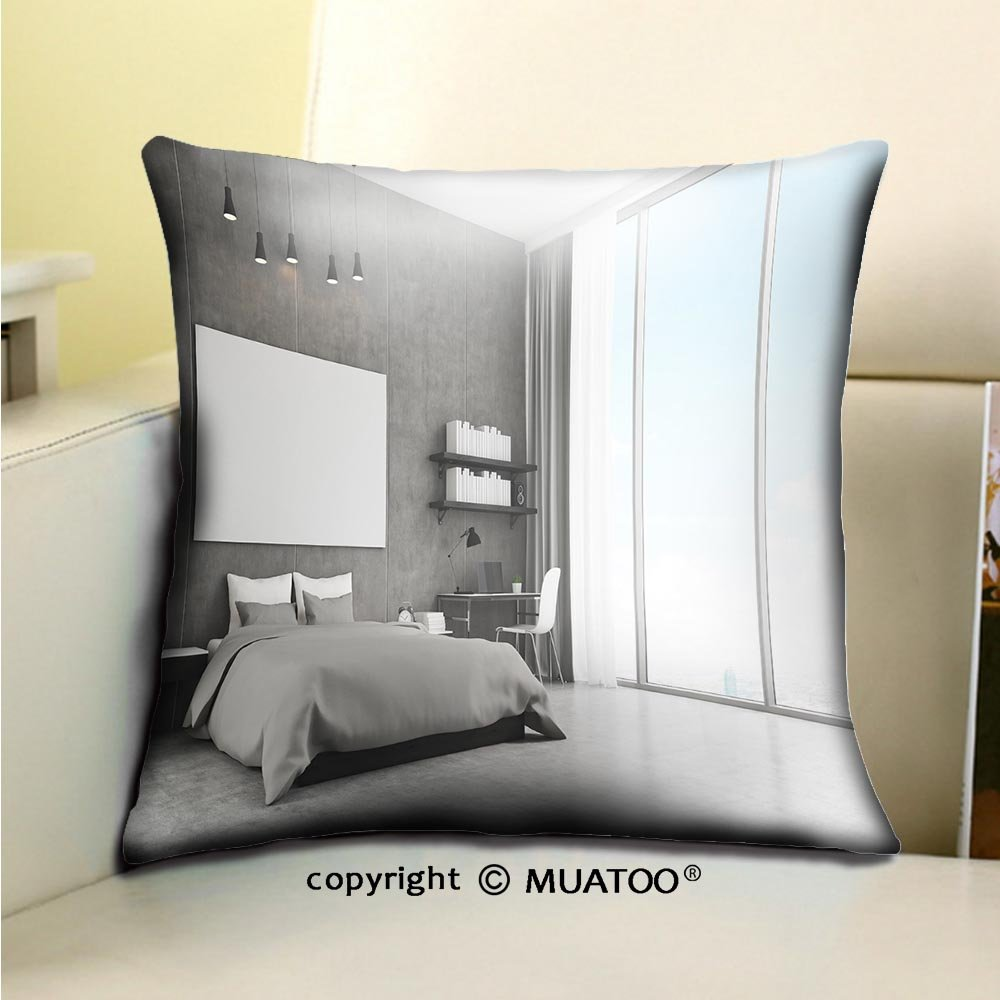 PleayeL Soft Canvas Throw Pillow Covers Cases for Couch Sofa -bedroom interior with concrete walls and floor and large panoramic window there is a horizontal Print 20 x 20(50 x 50 cm)