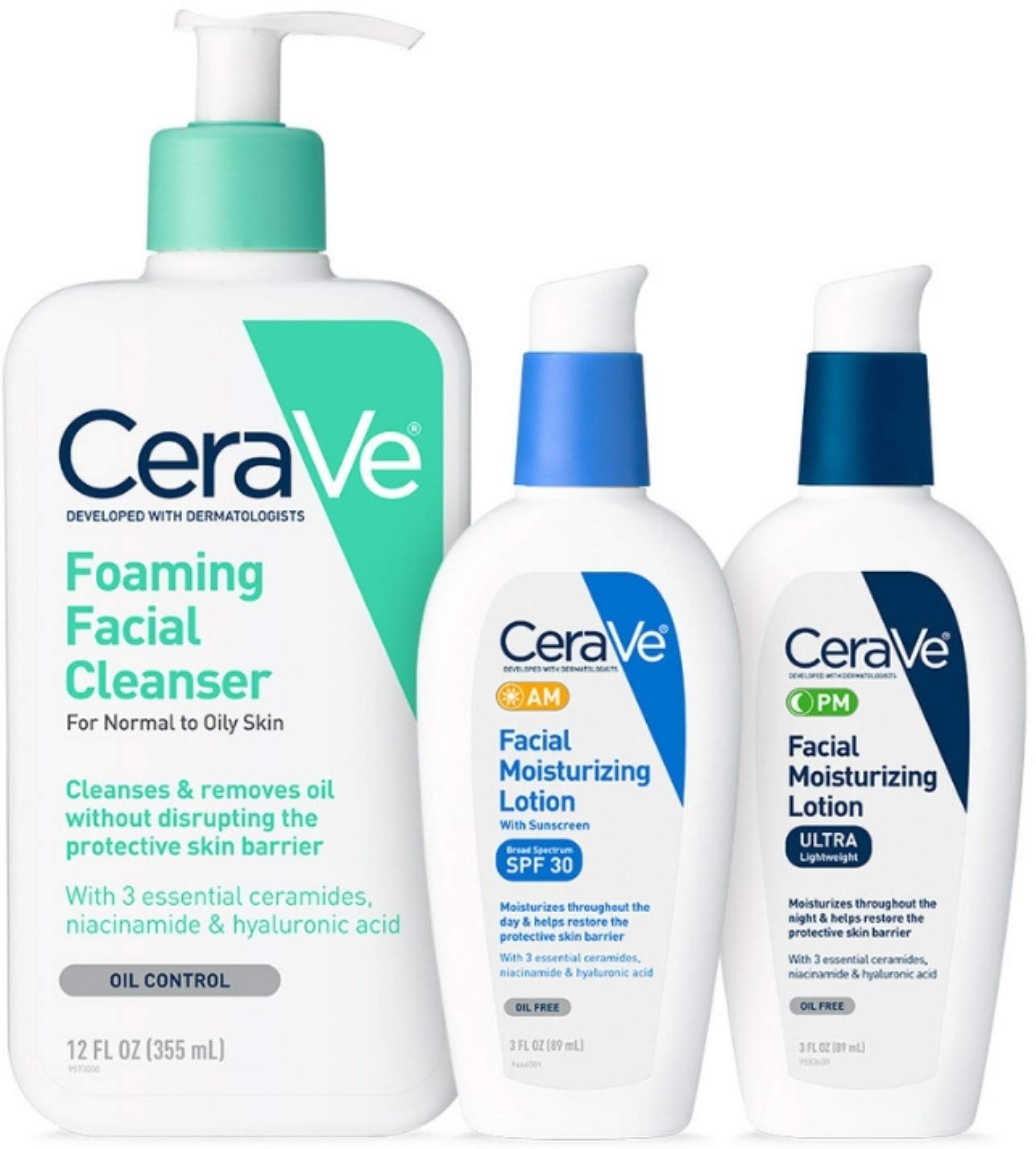 CeraVe Daily Skincare for Oily Skin | Foaming Face Wash, AM Face Moisturizer with SPF 30, and PM Facial Lotion 1 ea