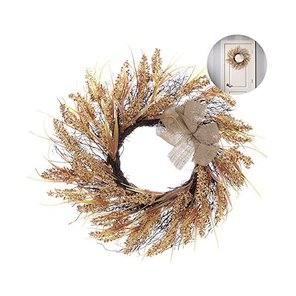 WDDH Autumn Wheat Wreath, Harvest Fall Front Door Wreath,Floral Twig Wreath Artificial Flowers Garland for Thanksgiving Day,Wall,Wedding,Home Decor