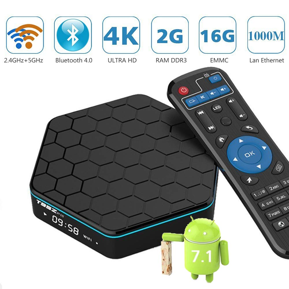 T95Z Plus Android TV Box 7.1, EASYTONE Android Box with 2GB RAM 16GB ROM/Amlogic S912 Octa Core CPU/ / 2.4+5GHz Dual WiFi/ 1000M LAN/H.265 /BT4.0 Real 4K Playing Android Mini Box