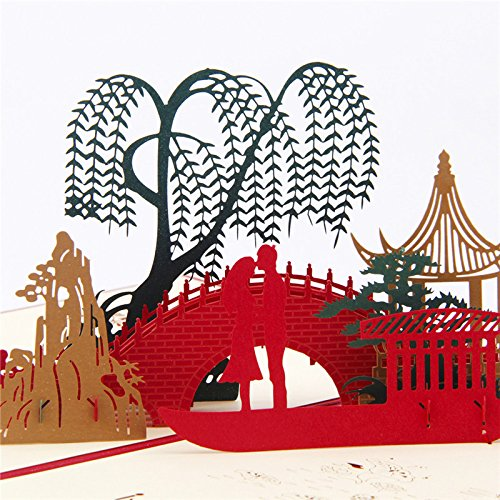 IShareCards Handmade 3D Pop Up Greeting Cards China Ancient Culture Romantic Love (Weeping Willow,Ancient Pavilion,Small Bridge,Flowing Water,A boat,You and Me. LD5011)]()