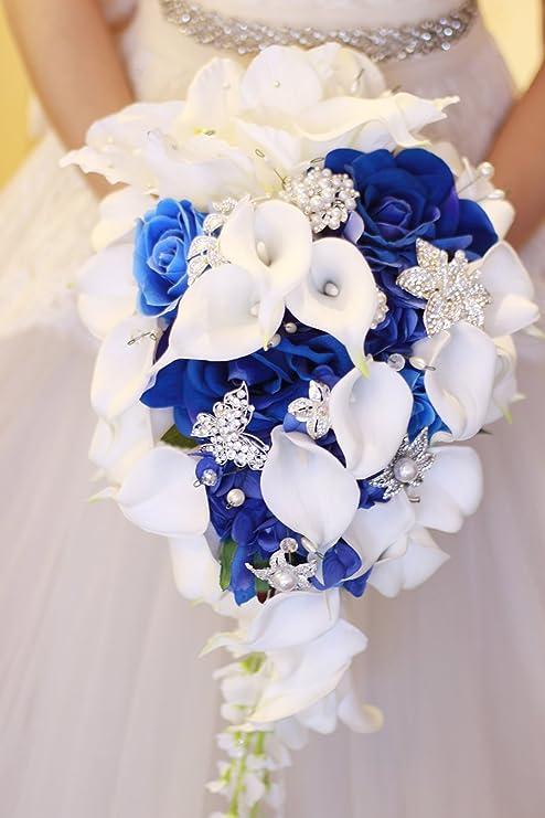 CHOOSE RIBBON COLOR Royal Blue Calla Lily Bouquet Real Touch Rose and Calla Lily Bouquet Calla Lily Bouquet Royal Blue Bridal Bouquet