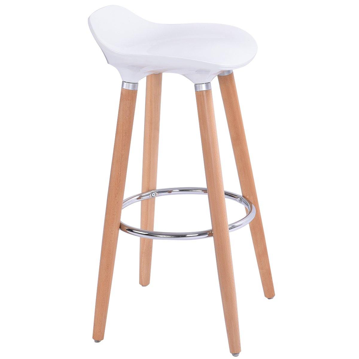 Costway White Bar Stool ABS Plastic, Kitchen Breakfast Barstool with Wooden Legs