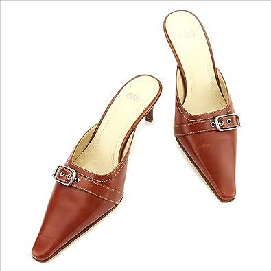 157199606762 [コーチ] ミュール パンプス シューズ 靴 レディース ♯6B ポインテッドトゥ ベルト付き 中古