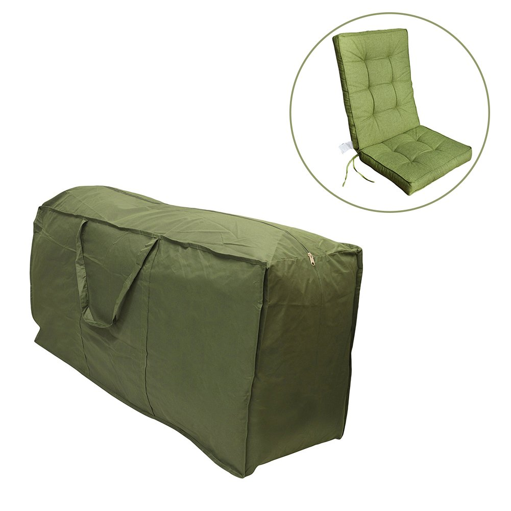 Gentman Patio Seat Cushion Storage Bag Waterproof Furniture Outdoor Cover Lightweight Rectangular Protective Zippered Storage Bag