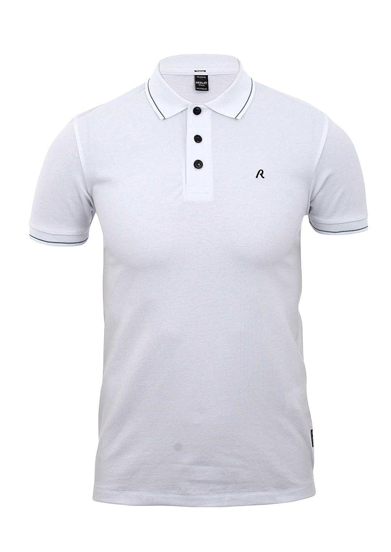 REPLAY - Polo - para Hombre Blanco Blanco óptico Small: Amazon.es ...