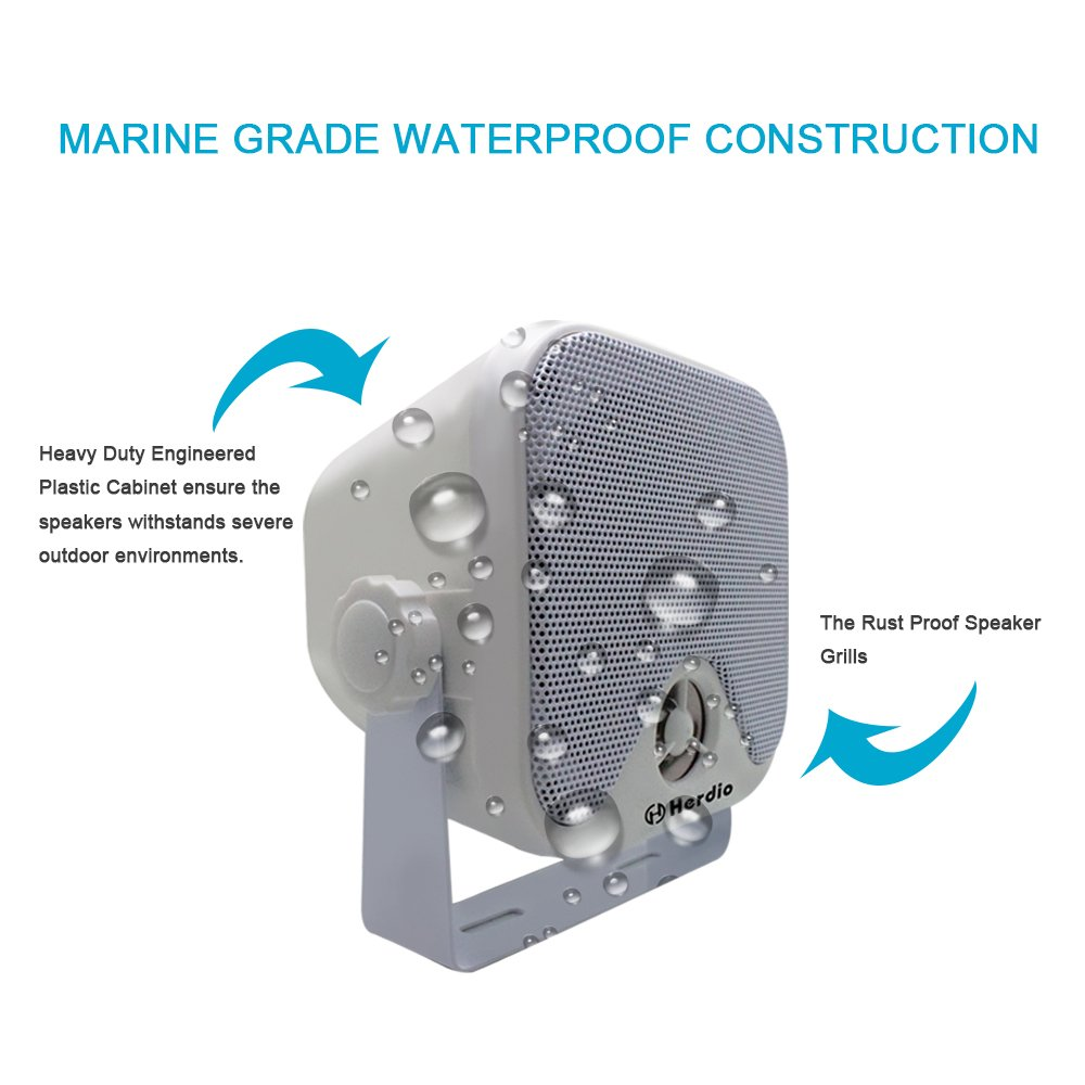 Marine Box Lautsprecher Wasserdichte Stereo Boot Lautsprecher Wandmontage 2 Way 100 W Wei/ß Farbe IP66 4 Zoll
