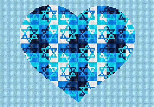 Heart Needlepoint Canvas (Heart Jewish Star Needlepoint Canvas)