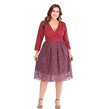 f9feda103804 ESPRLIA Women's Empire Waist Short Sleeve Plus Size Midi Dress (Wine, ...