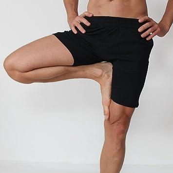 Prancing Leopard - Pantalones cortos de yoga para hombre, estilo motero, de algodón orgánico, todo el año, color Color negro., tamaño small: Amazon.es: Deportes y aire libre