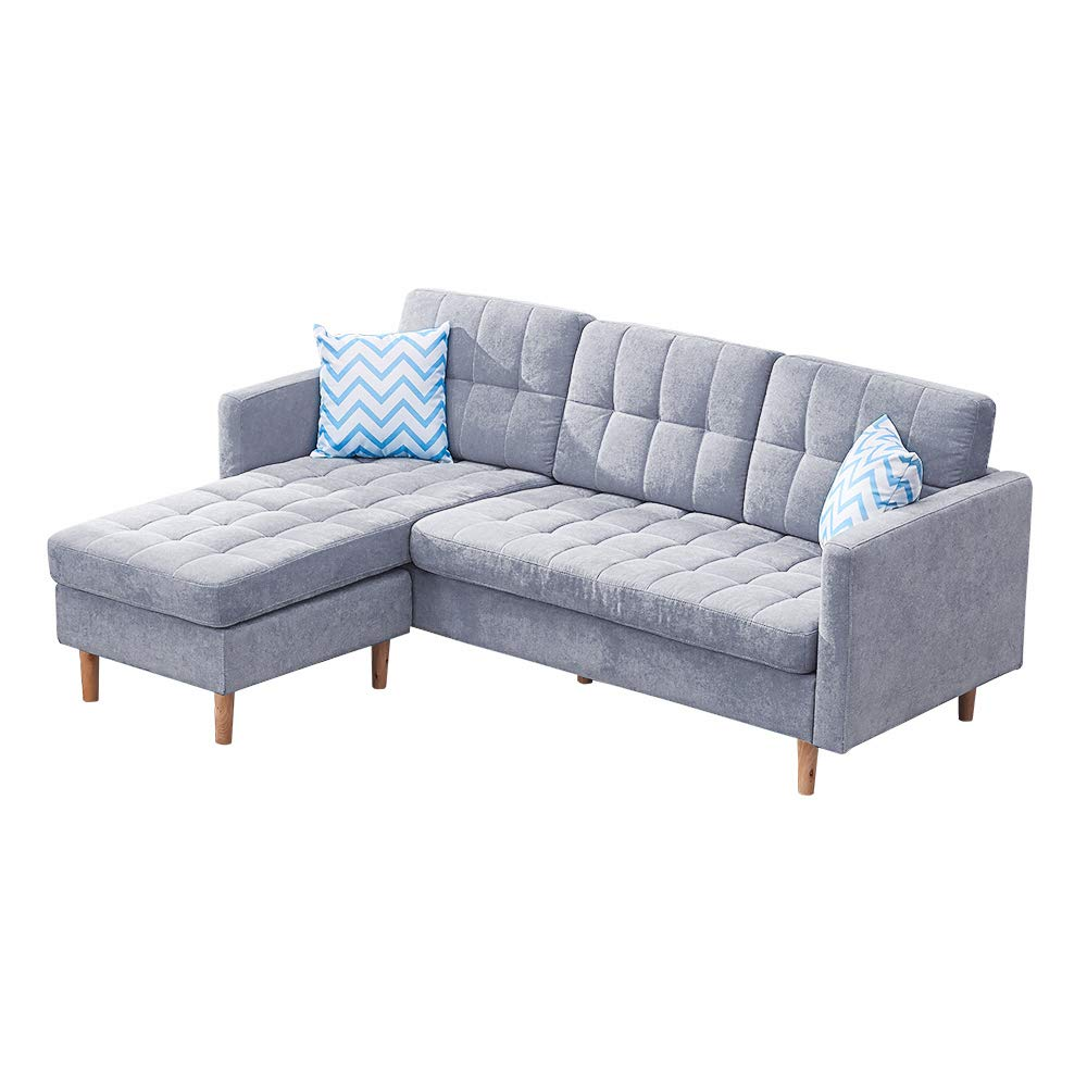 Modern Sectional Sofa with Chaise, Sleeper Sectional Sofa for Living Room, L Shaped Couch and Sofa with Rubber Wood Legs Linen Fabric 83 W
