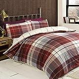 Lomond, Flannelette, Tartan Check, Duvet Cover, Quilt Set, Red, Single Size by Ideal Textiles