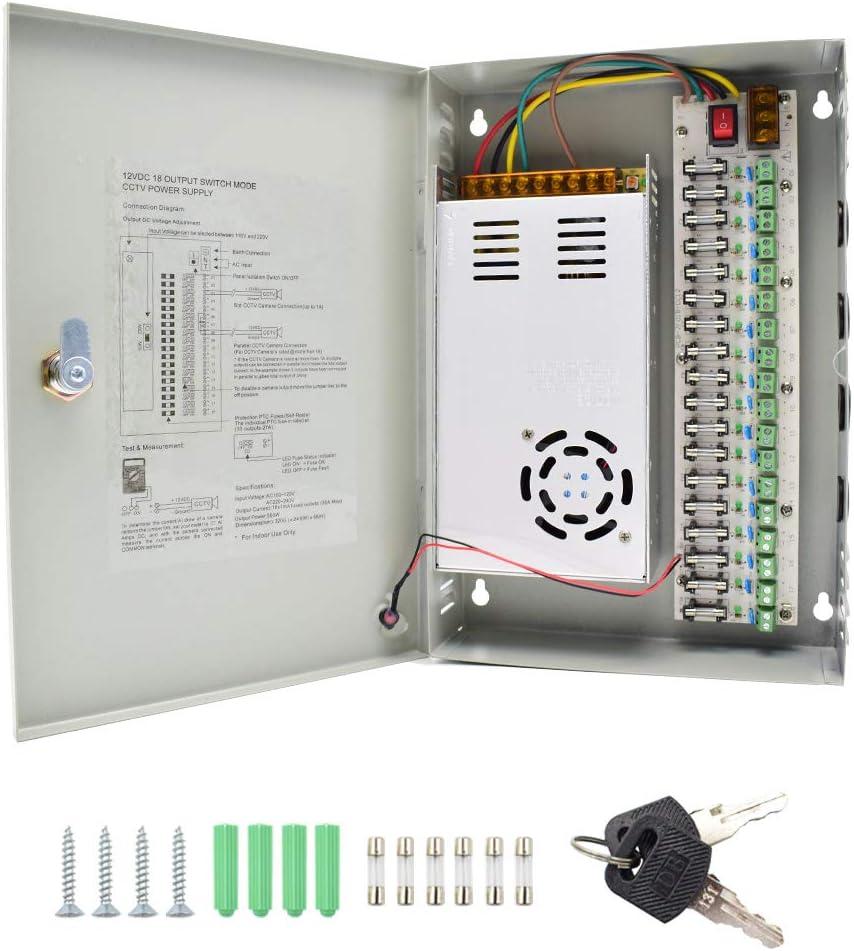 HAILI 18 Canales Salida de Puerto DC 12V 30A CCTV DVR Caja de Fuente de Alimentación Distribuida para Cámaras de Seguridad con Ventilador Incorporado