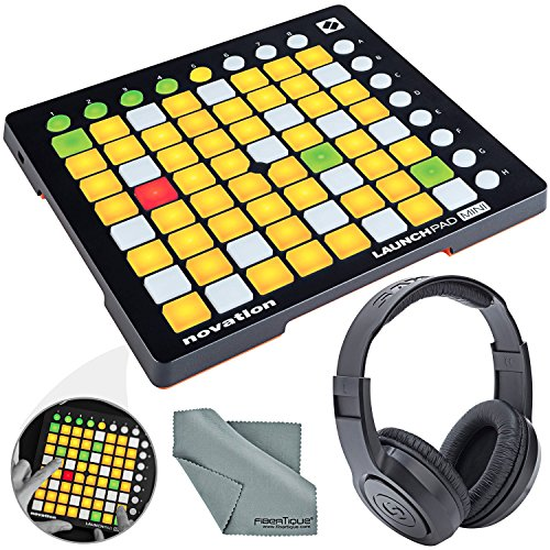 Novation Launchpad Mini Ableton Live Controller MK2 Bundle W/ Stereo Headphones + Fibertique Cleaning Cloth