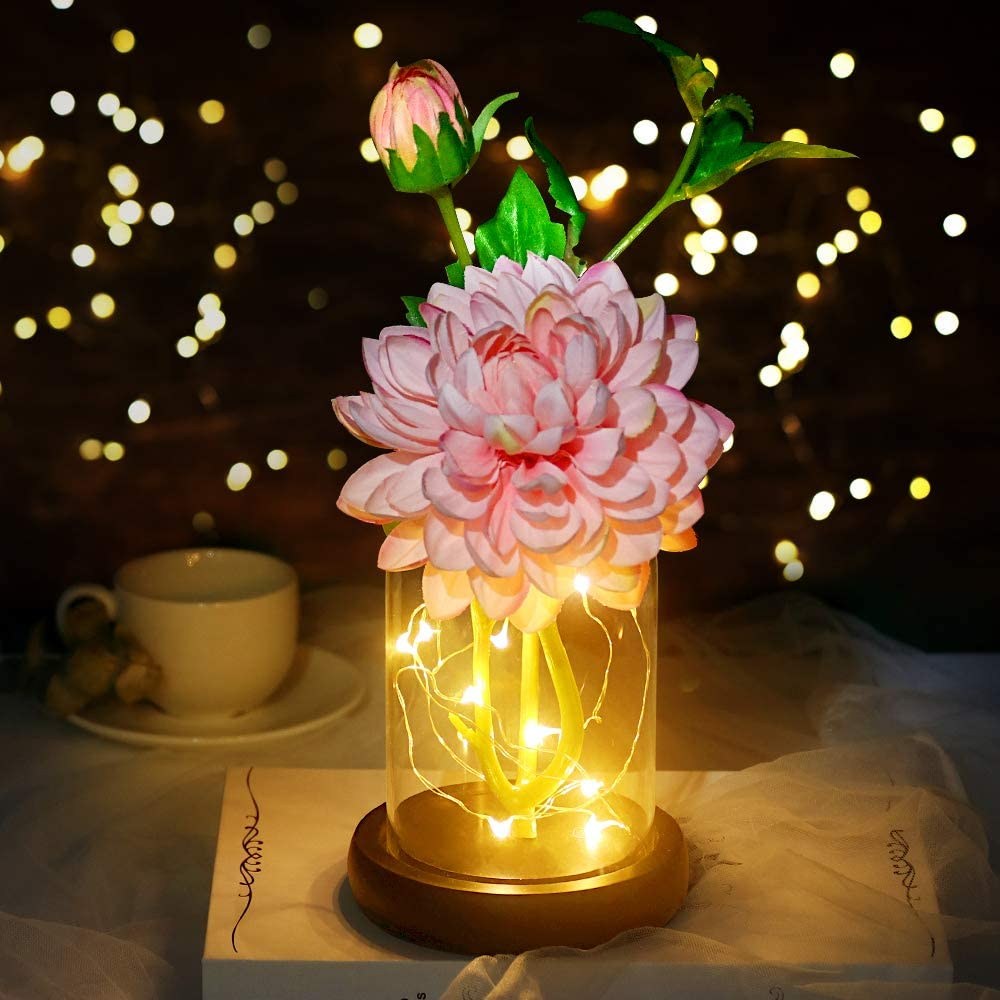 shirylzee Artificial Flowers with Vase Silk Dahlia Flower Arrangement with Led Light DIY Fake Flowers Glass Craft Art Decoration for Home Shop Wedding Party Centerpieces Birthday - Pink