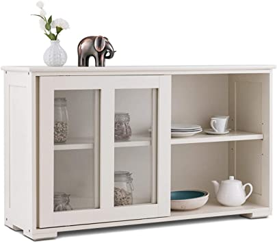 Amazon Com Sideboard Buffet Cupboard Glass Sliding Door Pantry Kitchen Storage Cabinet Buffets Sideboards