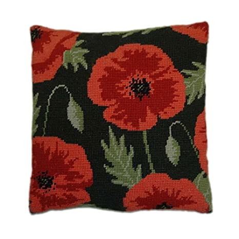 Amazon.com: Wild Poppy hierbas almohada bordado por ...