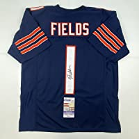 $299 » Autographed/Signed Justin Fields Chicago Blue Football Jersey JSA COA