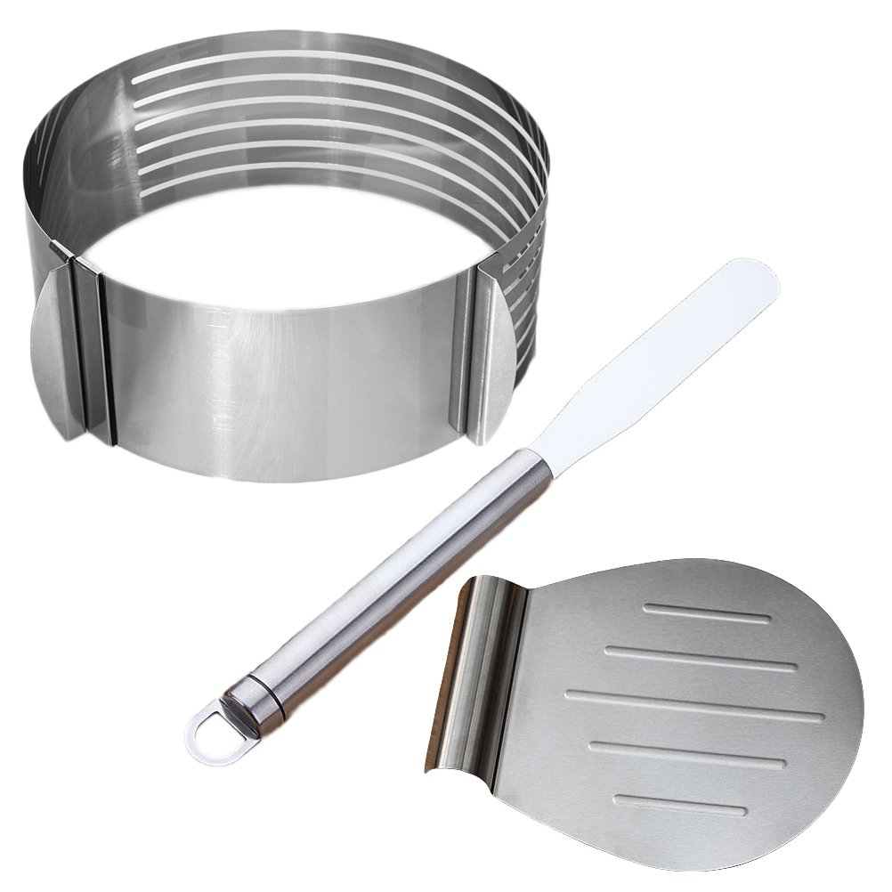 BESTONZON 3pcs Stainless Steel Cake Lifter Spatula and Layered Cake Slicer Set Pizza Transfer Tray for Cakes Pizzas Pies and Cookies