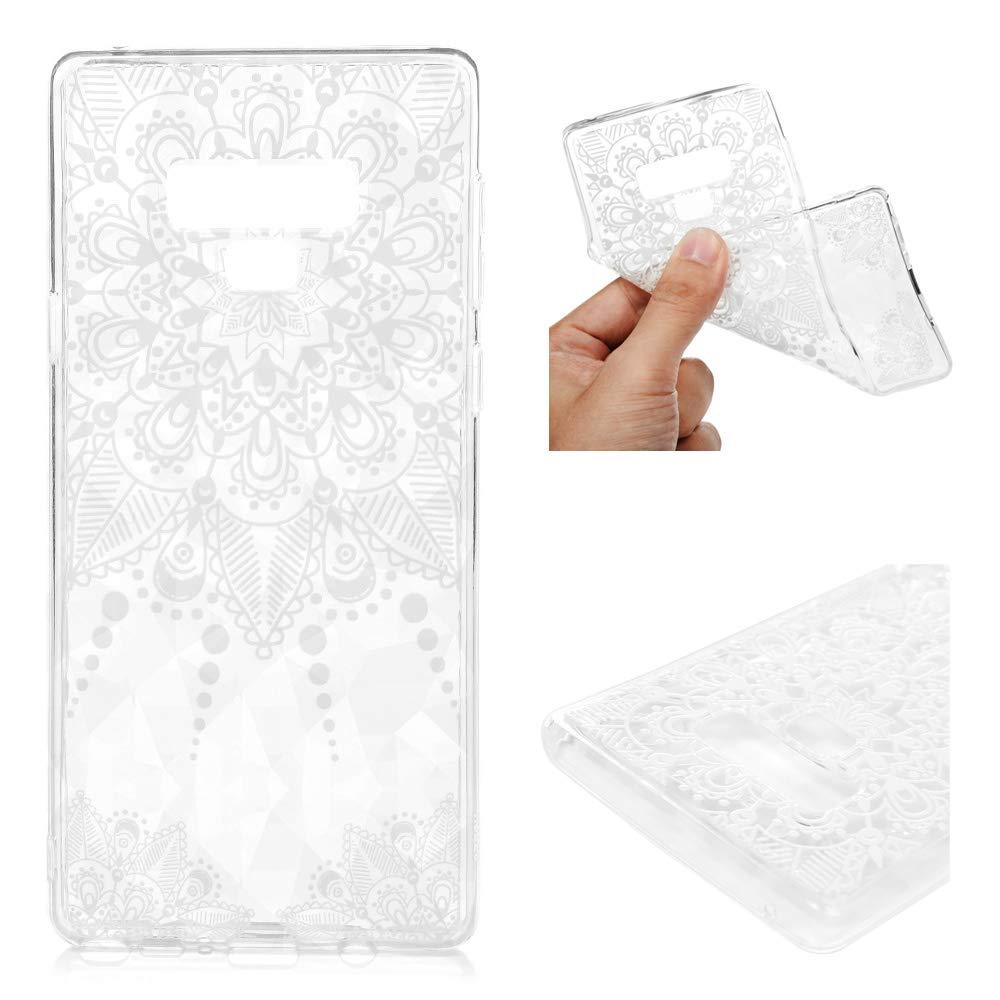 Coque pour Samsung Galaxy Note 9 Transparent LANVY Housse Étui TPU Silicone Souple Coque Conception Exquise Cover Gel Case Anti-dérapante Coque Samsung Galaxy Note 9 Bumper Cover - White Totem
