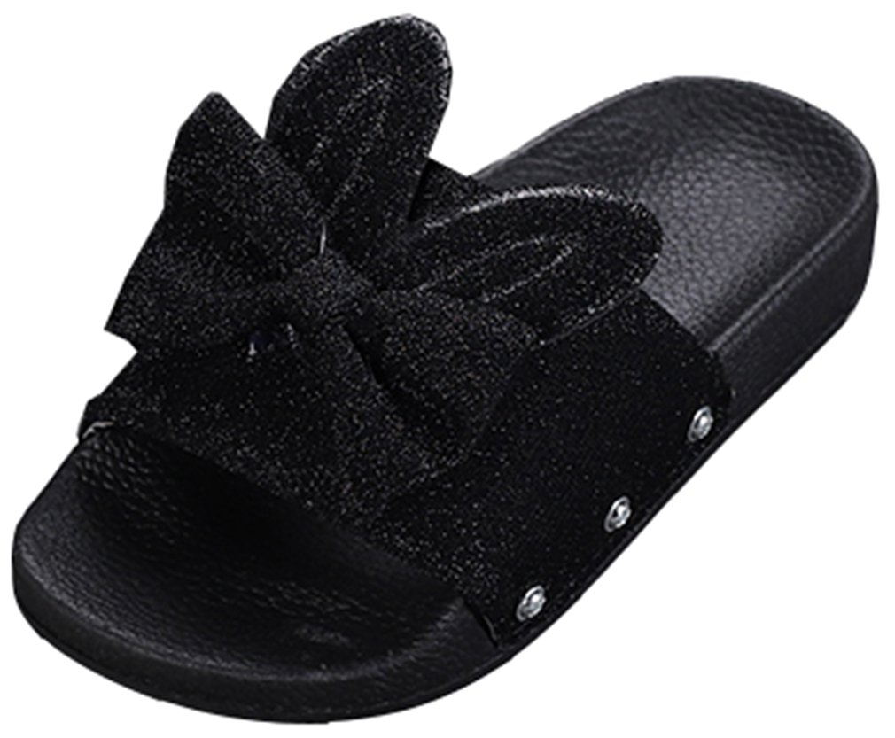 VECJUNIA Girl's Glitter Sequined Bows Ears Open Toe Flat Sandal Slipper Shoes (Black, 12.5 M US Little Kid)